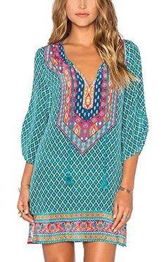 e262688eb674b Women Bohemian Neck Tie Vintage Printed Ethnic Style Summer Shift Dress at Amazon  Women's Clothing store:
