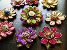 Felt and zipper flowers by woolly fabulous