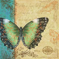 Royal Tapestry Butterfly-B Digital Art by Jean Plout - Royal Tapestry Butterfly-B Fine Art Prints and Posters for Sale Vintage Butterfly, Butterfly Cards, Blue Butterfly, Butterfly Print, Butterfly Wallpaper, Vintage Cards, Vintage Paper, Vintage Pictures, Vintage Images
