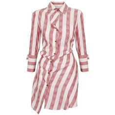 Vivienne Westwood Red Label Tudor Jacquard Garden Drunken Shirt Dress... ($542) ❤ liked on Polyvore featuring dresses, vestidos, tops, vestiti, striped shirt dress, pink floral dress, long sleeve floral dress, stripe dress and striped dresses