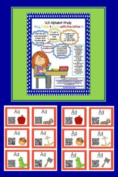 FREEBIE! Sing, Think & Move with the Letter A - A QR Code Adventure. Updated Version - now on individual cards for easier scanning!