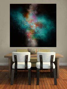 Gran lienzo abstracto por artista Simon por SimonkennysPaintings                                                                                                                                                                                 Más