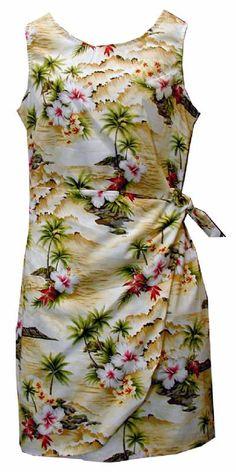 Hibiscus Island Ladies Hawaiian Print Sarong Dress Maize