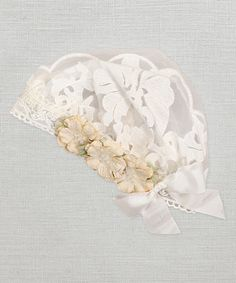Another great find on #zulily! Ivory Floral Lace Beanie by Truffles Ruffles #zulilyfinds