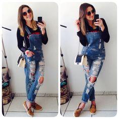 Look de hoje de manhã passeando no centro! Macacão @lojasriachuelo, óculos @zerouv, slipper, bolsa e blusa @modanapassarela, tô quase a #GirlPassarela! rsrs