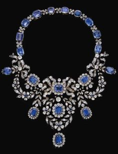 Sapphire and diamond necklace, late 19th century. It detaches into 6 pieces so that the jewels can be worn separately.