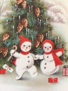 Adorable Snowman Couple Vintage Sunshine Unused Christmas Greeting Card
