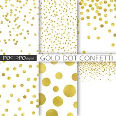 Gold dot confetti digital paper polka dots! Perfect sparkle for Christmas or anytime!        ...gold foil shine metallic glitter scrapbook invitation printable background
