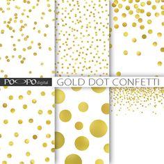 Points de polka dot or confettis papier numérique sparkle Noël clinquant d'or brillant paillettes métalliques scrapbook invitation imprimable fond