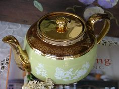 SUDLOWS Burslem Teapot Made in England with Beautiful Relief Figures ~ vintage item from the 1940's