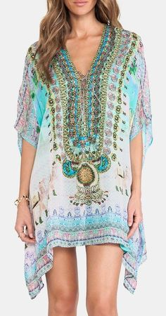 Camilla Short Lace Up Kaftan in Jodphur   Swimsuit Cover-up