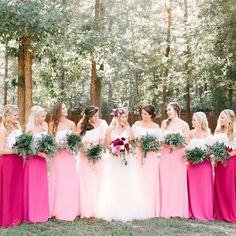 Gorgeous hues of pink in these bridesmaid dresses for a spring or summer wedding Pink Brides Maid Dresses, Hot Pink Bridesmaids, Pink Bridesmaid Dresses Short, Bridesmaid Dress Colors, Wedding Bridesmaids, Wedding Dresses, Bridesmaid Gowns, Magenta Dresses, Fuchsia Wedding Theme