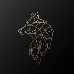 Geometrischer Goldwolf Geometrischer Goldwolf - Geometrischer Goldwolf Geometrischer Goldwolf Sie sind an de - Geometric Wolf Tattoo, Geometric Drawing, Geometric Lines, Geometric Designs, Geometric Tattoo Animal, Tattoo Abstract, Gold Drawing, Geometric Sleeve, Tribal Sleeve