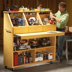 Grab-and-Go Tool Storage - Summary: The Family Handyman Tool Storage Cabinets, Garage Storage, Storage Drawers, Workbench Drawers, Workbench Ideas, Basement Storage, Woodworking Shop, Woodworking Plans, Woodworking Projects