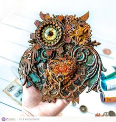 This Steampunk Owl is unique wall decor, made on wooden base, using mixed media techniques, in Grunge Steampunk style. Size: 6 x 7 inch (15.5 x 17 cm) This Mechanical cute Owl will be amazing addition to your Steampunk or Modern style interior design. If you looking for a unique, smart