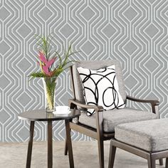 This stylish Opus Geo Sequins Wallpaper by Holden Decor features a large scale geometric pattern in silver and grey. Sequin Wallpaper, Dark Grey Wallpaper, Silver Wallpaper, Paper Wallpaper, Vinyl Wallpaper, Glamour Living Room, New Living Room, Interior Styling, Interior Decorating