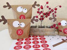 Advent Calendar - DIY ☆ Advent Calendar ☆ moose - a unique product by KuschelICH on DaWanda Christmas Calendar, Christmas Countdown, Winter Christmas, All Things Christmas, Christmas Holidays, Christmas Parties, Advent Calenders, Diy Advent Calendar, Theme Noel