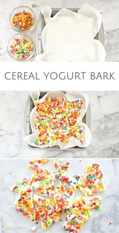 Easy Kid Snack: Cereal Yogurt Bark. Just two ingredients needed to make this yummy and healthy snack for kids. Use your favorite cereal to make your own.