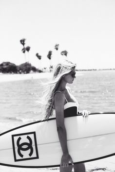 Chanel surf board, black and white, girl