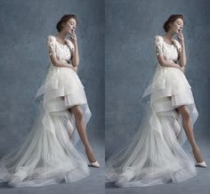 Aesthete Crew Neck Short Sleeve With Heavy Lace Appliques High Low A Line Wedding Dresses 2015 Spring Bridal Gowns Tulle ZC from Engerlaa,$174.46 | DHgate.com