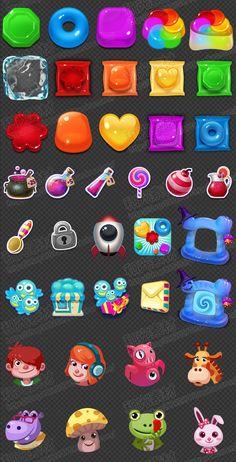 Игра Art Resources / Q версии устранить класс / Мэн Мэн потребления конфеты UI ...