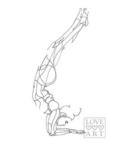 Yoga art print: Forearm Stand or Feathered Peacock Pose by LoveHeartsArt on Etsy