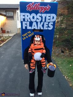 Tony the Tiger on a Frosted Flakes box - Halloween Costume Contest via @costumeworks