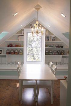 Attic studio (so much light, organized storage shelves, and wood floors!)