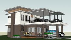 Two-Story Modern House With Three Bedrooms and a Very Spacious Terrace Second Story, Pinoy, Terrace, Bedrooms, Mansions, House Styles, Modern, Projects, Home Decor