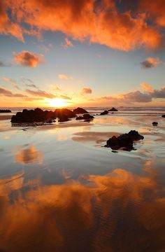 L' Eau, l 'Air, la Terre...le Feu....A winter warmer sunset, North Cornish Coast, Cornwall, England