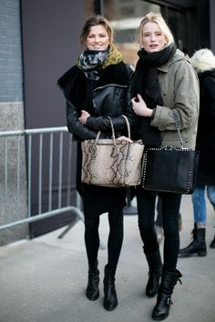 Doubled up on great bags and awesome outerwear. Model Street Style at New York Fashion Week #NYFW