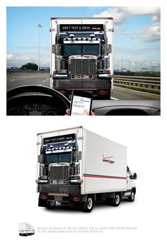 ドライバーに向かって逆走してくるトラック!? 「運転中の携帯使用防止」を訴えるドッキリ広告     AdGang http://adgang.jp/2014/07/69624.html