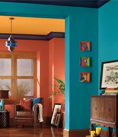 Gorgeous 35 Astonishing Colorful Decor Ideas For Home. Teal Living Rooms, Living Room Orange, Living Room Color Schemes, Living Room Colors, Bedroom Colors, Living Room Decor, Bedroom Yellow, Colour Schemes, Harmony Design