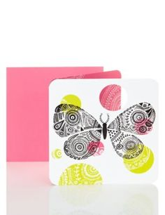 Bright Patterned Butterfly Birthday Card | M&S