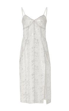 White Topstitched Cami Dress  by WES GORDON for Preorder on Moda Operandi