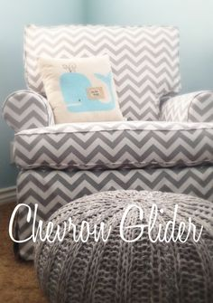 Grey  White Chevron Print Nursery Glider