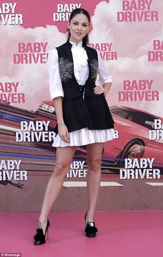 Romantic look: Eiza Gonzalez stole the show at the Baby Driver photocall in Madrid in a fr...