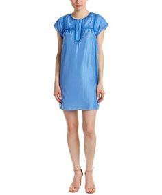 Barth Tonsiya Silk Shift Dress In Blue Calypso St Barth, Shirt Dress, T Shirt, Summer Dresses, Silk, Blue, Clothes, Collection, Shopping