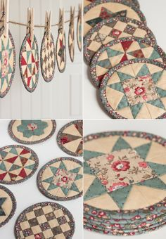 Quilted «pancakes» pretty! Too pretty to use for coffee mug mats... but I love these.