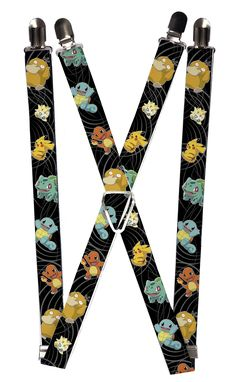 Buckle Down Kids Elastic Pokemon and Friends Print Clip-End Suspenders