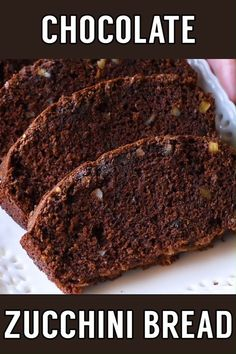 Chocolate Zucchini Bread! This classic recipe for ultra moist chocolate zucchini bread has a dark chocolate flavor and is laced with walnuts. Perfect for gifting, a quick breakfast, or an easy dessert! | #homemadehooplah #recipe #breakfast #dessert #thanksgiving #christmas #chocolate #fall #spring #summer #winter #bread
