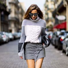 gingham mini with patchwork sweater