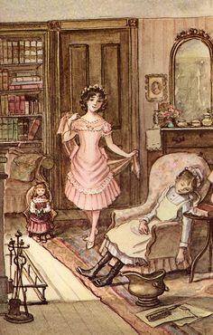 """Tasha Tudor : Illustration for """"A Little Princess"""", written by by Frances Hodgson Burnett, 1963 edition Tudor, Art Original, Little Doll, Children's Book Illustration, Book Illustrations, Children's Literature, Les Oeuvres, Childrens Books, Book Art"""