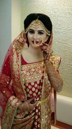 Indian Wedding Couple Photography, Indian Wedding Bride, Bengali Wedding, Bengali Bride, Wedding Girl, Indian Weddings, Wedding Dress, Pakistani Bridal Hairstyles, Pakistani Bridal Makeup