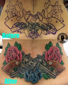 I love the guns and flowers with the sugar skull right on top! I have my backpiece idea now!