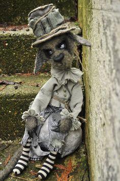 Creepy Ghost Town Cat Grim. OOAK Gothic Mohair Plush Doll. 20'' tall.