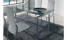 Mesa de comedor con dos extensibles. Fantástico acabado cromado y cristal templado.