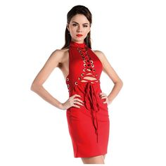 Red O Neck Lace Up Party Dress LAVELIQ