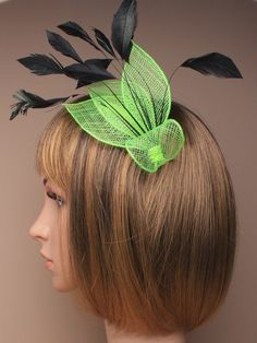 Green Fascinator with triple pointed net and by ClarasBoutiqueUSA, $19.00