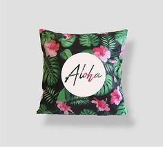 Aloha Tropical Pillow Palm leaves Pattern 16x16 Pillow